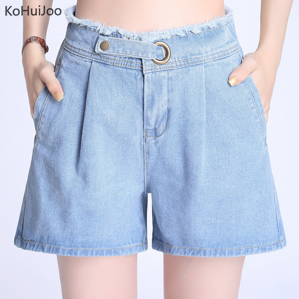 KoHuiJoo 2019 Summer Women's Jeans Shorts High Waist Plus Size Pockets Wide Leg Casual Micro Denim Shorts Ladies Clothing
