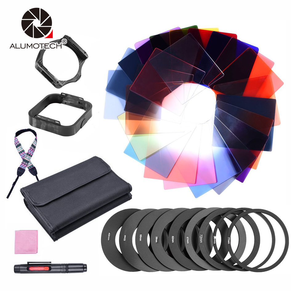 ALUMOTECH Holder Adapter 12 Full Color Filter and 12 Graduated Filter Kit For Camera Color