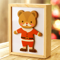 Magnetic Cartoon Bear Change Clothes Wooden Toy Puzzles Kids Educational Dress Changing Jigsaw Puzzle Toys For