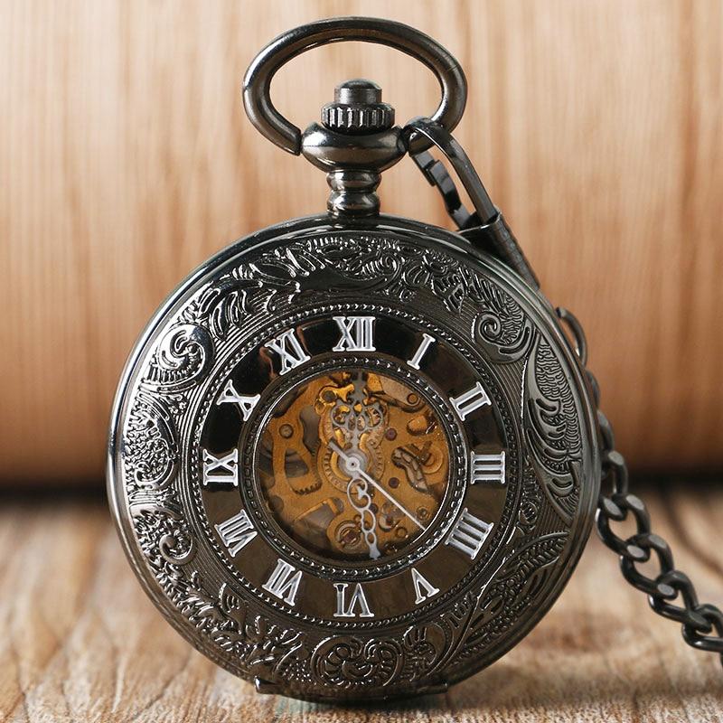 Steampunk Automatic Mechanical Pocket Watch Black Cool Luxury Stylish Vintage Carving Fob Chain Clock Retro Fashion