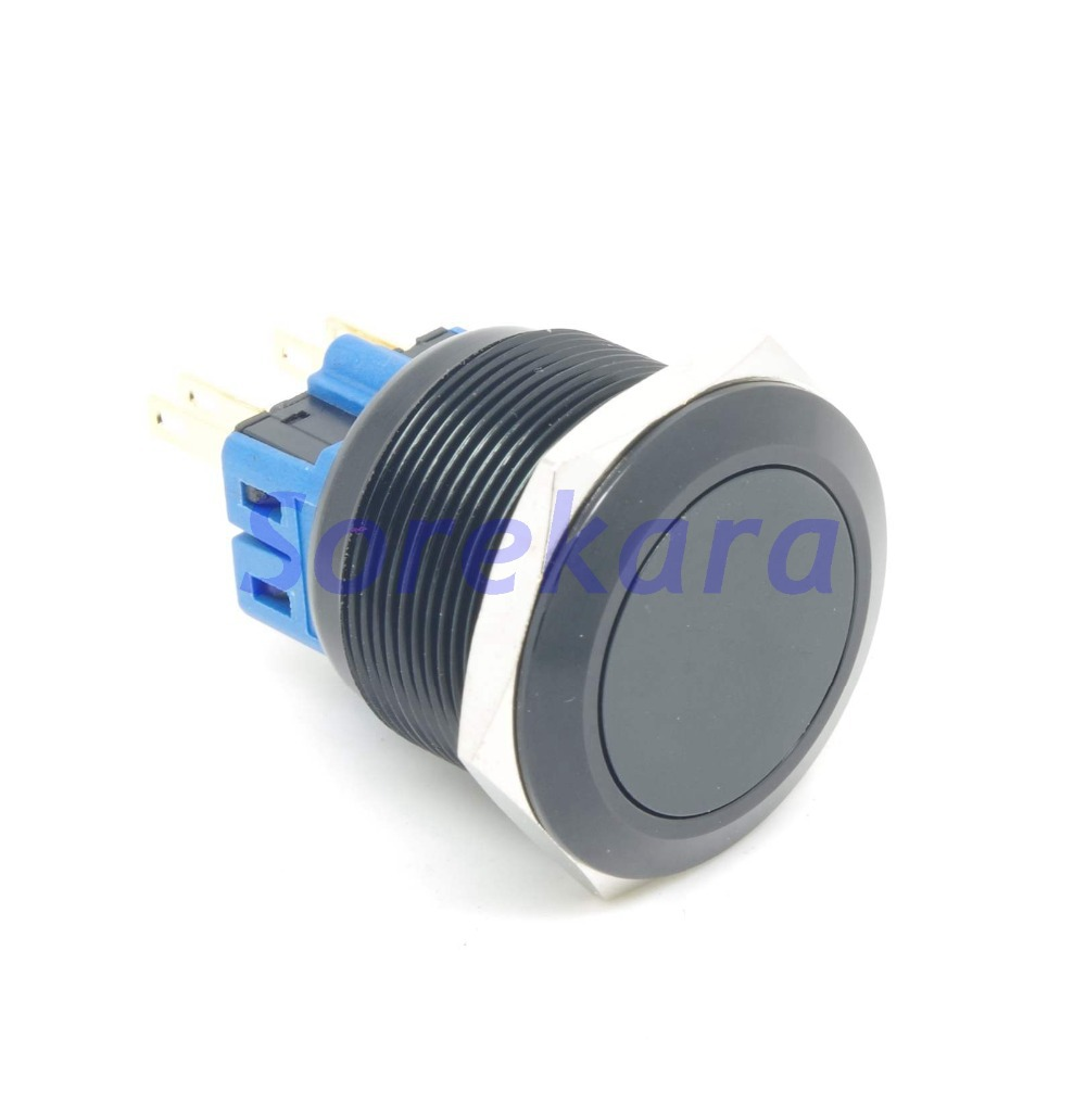 25mm Zn-Al Black Coating Momentary Pushbutton Switch 2NO 2NC Pin Terminal For Auto IP65 UL al 500g 25