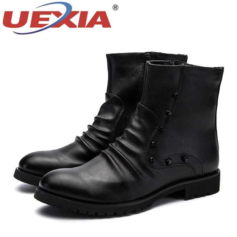 Adulte À Bottes Plein Marche Cheville Hommes Black Casual Haute Qualité En Naturel Lacets Cuir Mode Automne Chaussures Uexia Air De f7yY6bgv