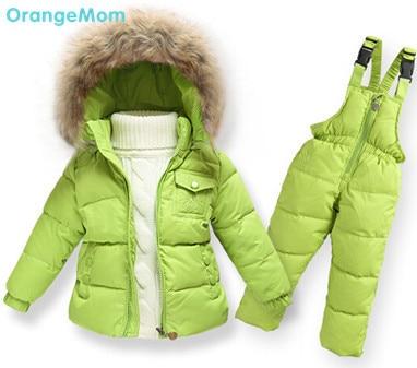 Мода зима 2017 новый теплое пальто Куртка природа меховой воротник 90% утка вниз куртки + спецодежда одежда устанавливает Европейский стиль детская одежда