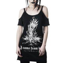 Oversize T Shirt Women Gothic Hipster Letter Skull Print Tshirt Plus Size Off Sh
