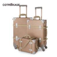 COTRUNKAGE комплект из 3 предметов розовое золото ретро чемодан из ПУ-кожи набор 13
