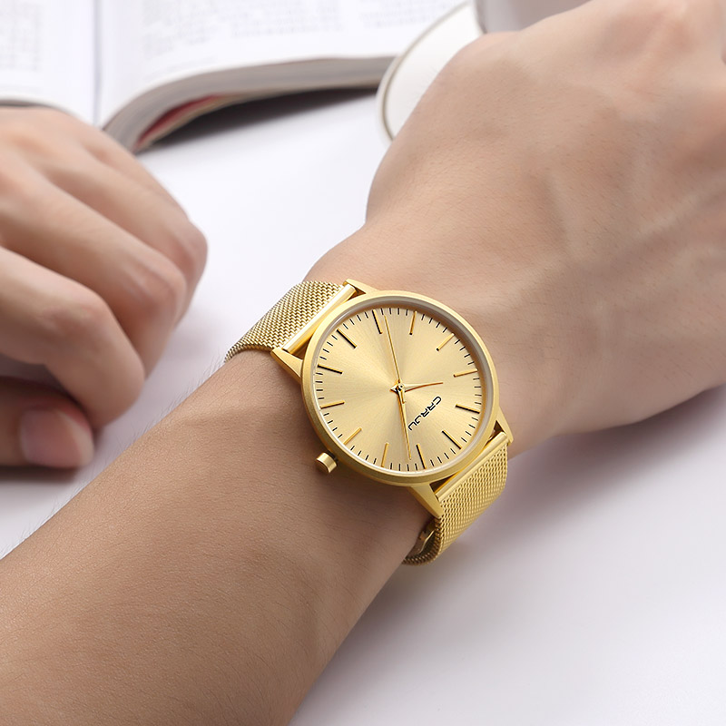 CRRJU Men Gold Watch Male Stainless Steel Quartz Golden men's Wristwatches for Man Top Brand Luxury Quartz-Watches Gift Clock