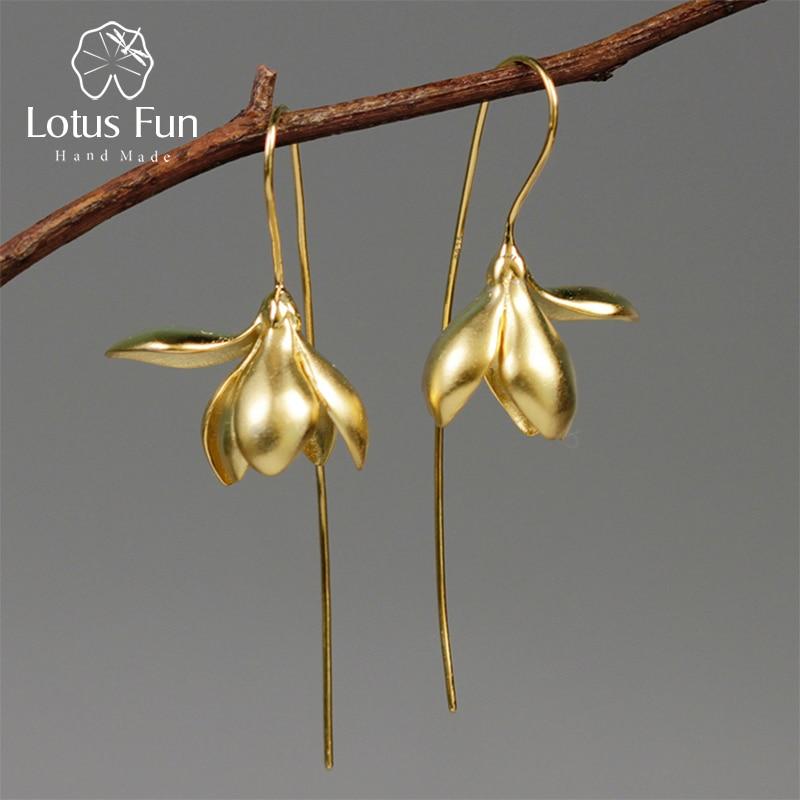 Lotus Fun Real 925 Sterling Silver Earrings Designer Fine Jewelry 18K Gold Elegant Magnolia Flower Dangle Earrings For Women