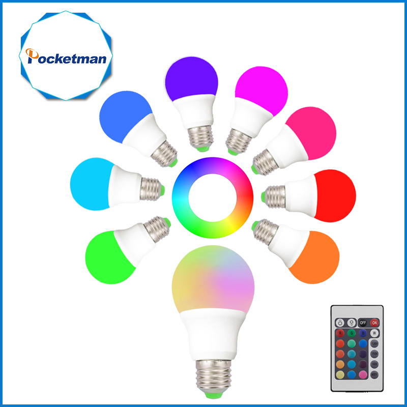 RGB Led Lamp 10W 5W 3W 220V E27 LED RGB Light Bulb Lampada LED RGB Light E27 Dimmable Magic LED Lights +IR Remote Controller good group diy kit led display include p8 smd3in1 30pcs led modules 1 pcs rgb led controller 4 pcs led power supply