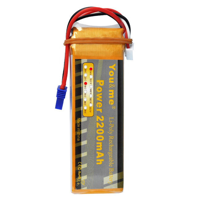 You&me 7.4V 2200MAH 30C/8C lipo battery RC Model EC2 connector  Hubsan H501S RC Quadcopter spare parts