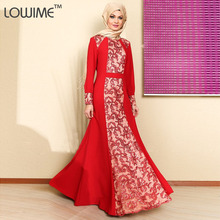 Muslim/Kaftan Evening Dress Long Sleeve Prom Dresses Appliques robe de soiree Celebrity Dresses With HiJab Free Shipping