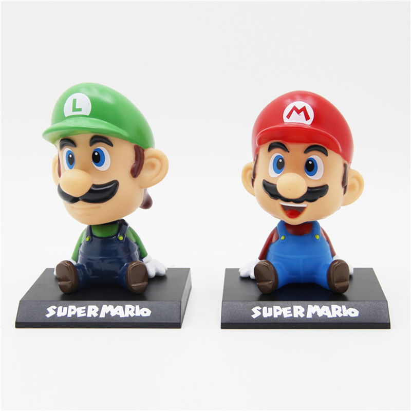 13cm Super Mario Bros Action Figure Toys, Mario Head Shaking Figure Model, Car Furnishing Articles Baby Toys, Toy For Children  the walking dead action figure zombie figures head resin crystal car ornament home desk decoration furnishing articles