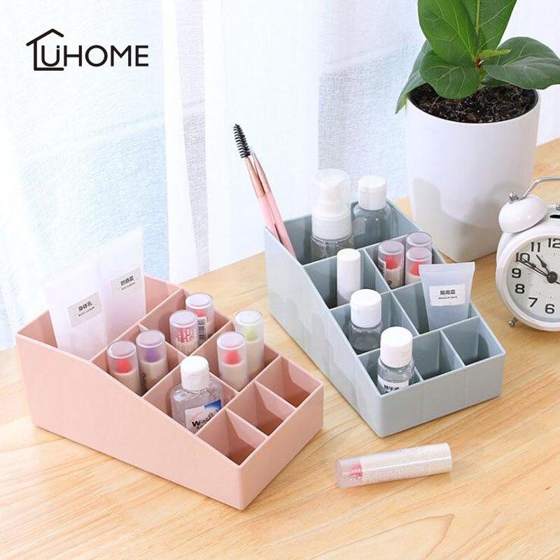 Plastic 8 Grids Mini Makeup Storage Box Cosmetic Case Lipstick Cases Sundries Case Small Desktop Organizer 17.5x10x7.5cm