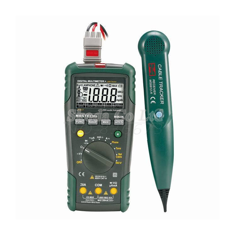 ФОТО Free shiping 2 in 1 MASTECH MS8236 Auto Range Digital Multimeter + Network Cable Track Tester Wire Line Telephone Tracker