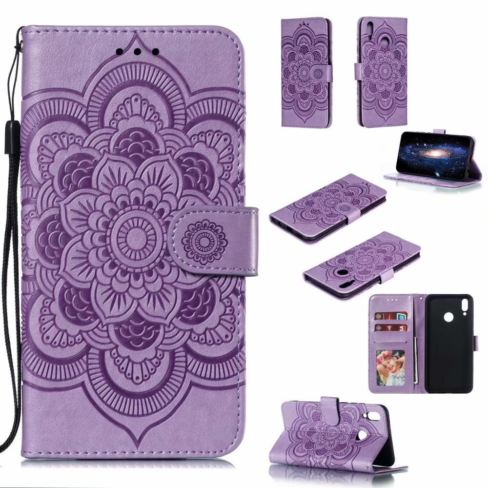 50pcs lot With Wallet Sun flower Print Flip Book Case for huawei P SMART PLUS 2019