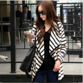 2016 New Jacket Women Long Sleeve Open Stitch Striped Coat Ladies Casual Spring Autumn Cardigan  A983