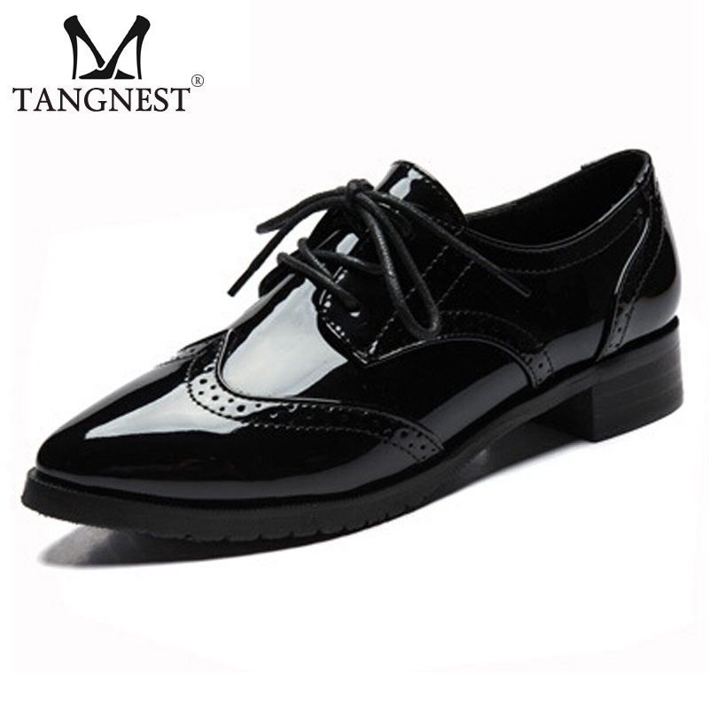 Tangnest New Patent Leather Oxfords Women Autumn Fashion Pointed Toe Platform Shoes Classic Brogue Shoes Women Black XWD4223 qmn women crystal embellished natural suede brogue shoes women square toe platform oxfords shoes woman genuine leather flats