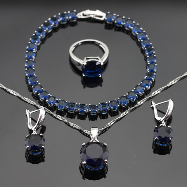 Round Blue Created Sapphire Silver Color Necklace Pendant Bracelets Earrings Rings For Women Jewelry Sets Free Gift Box