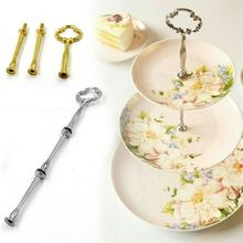 1 Set 3 Tier Handle Party Decor Cake Cupcake Holder Mini Plate Stand Rod Hardware Afternoon Tea Wedding Plates Party Tableware