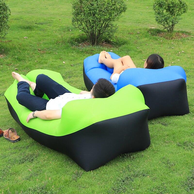 Inflatable Sofa Air <font><b>Bed</b></font> Air Lounger Chair couch Banana Sleeping Bag Mattress Seat Couch Camping Laybag lazy bag Hammock camping