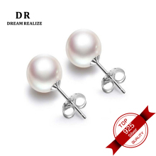DR Nyata Mutiara Air Tawar Silver 925 Stud Earrings Fine Jewelry Pink dan Putih Natural Pearl Earrings untuk Wanita Ukuran 6mm dan 8mm