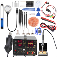 4 in 1 Soldering Station Hot Air Rework Station DC power supply 15V 2A Hot Air Gun Rework Station 909D + Welding Tool Kit