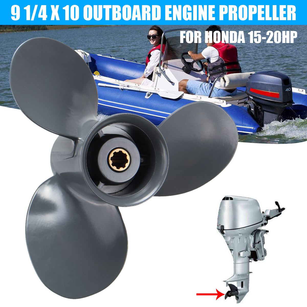 Audew Marine Boat Engine Propeller 9 1/4 X 10 Outboard Engine Propeller For Honda 15-20HP