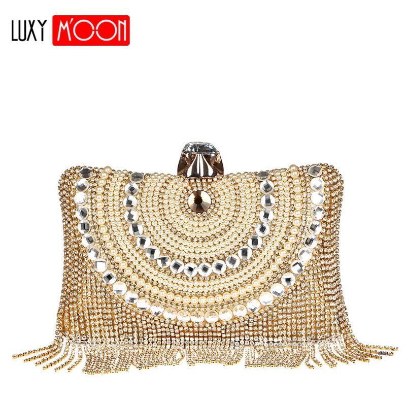 Clutch Purse Gold Luxury Beaded-Shoulder-Bag Tassel Evening-Bags Long-Chain Rhinestone Сумка