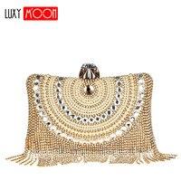 Luxury Gold Rhinestone Tassel Evening Bags Clutches Women Long Chain Diamond Beaded Shoulder Bag Wedding Party Clutch Purse L897