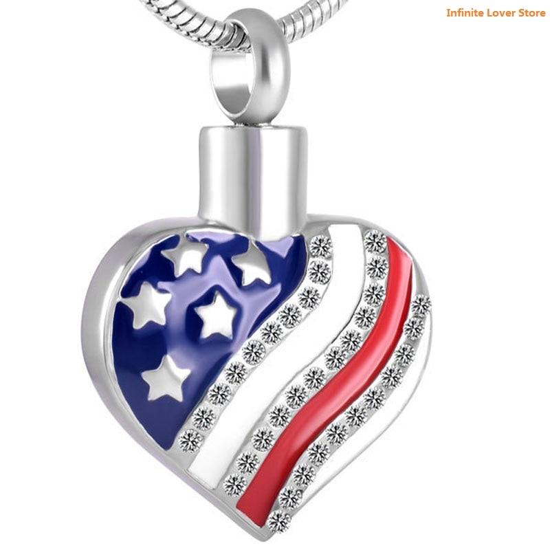 KLH8729 gros bijoux de crémation en acier inoxydable américain USA drapeau étoile coeur pendentif collier de crémation pour les femmes
