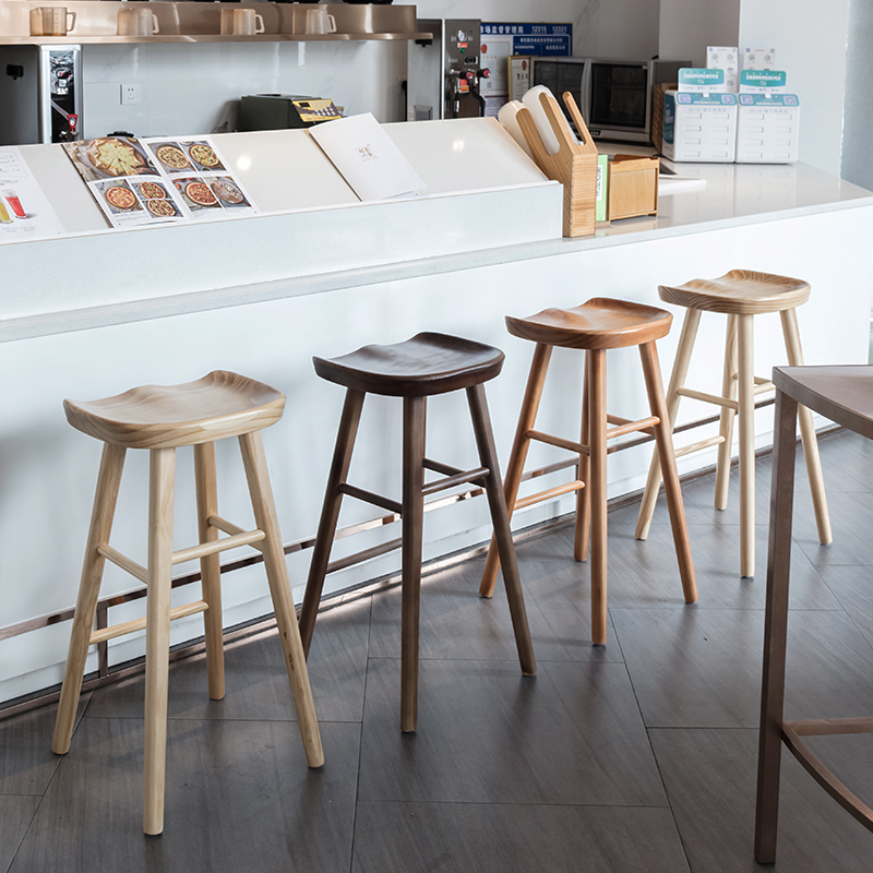 Nordic Bar Stool Modern Minimalist Bar Chair Solid Wood Home Creative Bar Chair Fashion High Stool(China)