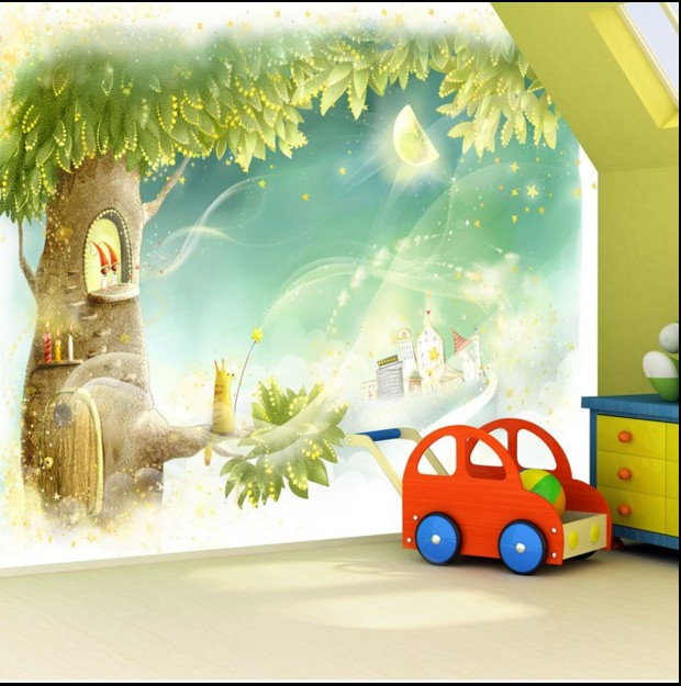 hot custom home decoration large mural wallpaper 3d girly kids room wall covering fresco tree. Black Bedroom Furniture Sets. Home Design Ideas