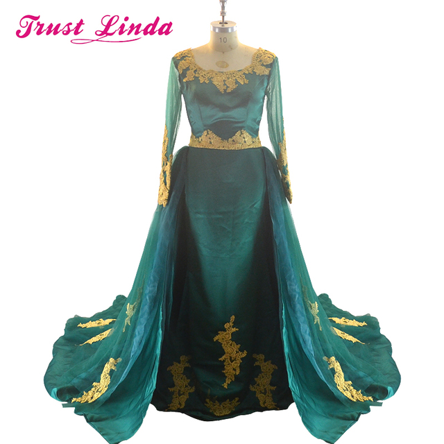 Golden Lace Appliques Flower Lace Up Evening dresses with detachable tulle train prom party dresses plus size