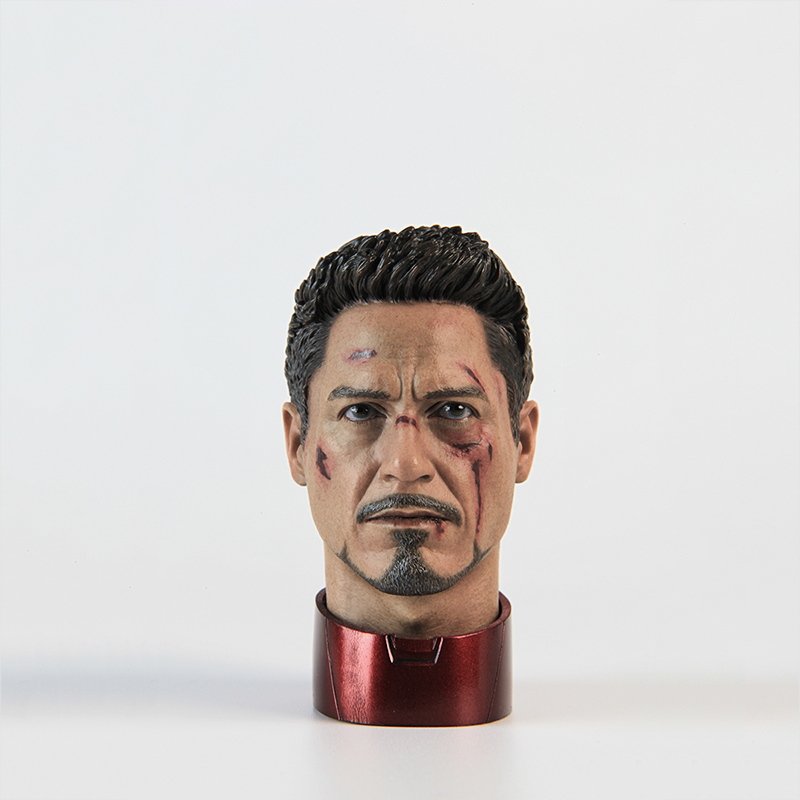1/4 Scale Tony Spark Head Sculpt Damaged Version with Blood Iron Man Action Figure for Collections pair of graceful faux gem water drop earrings for women