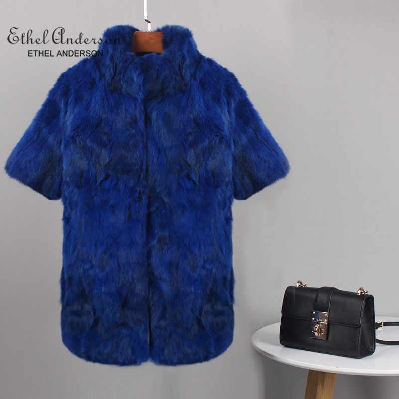 Ethel Anderson Kadın Hakiki Kabarcık Tavşan Kürk Palto Standı Yaka Tavşan Kürk Ceket Kış Gerçek Kürk Palto KEMER OLMADAN