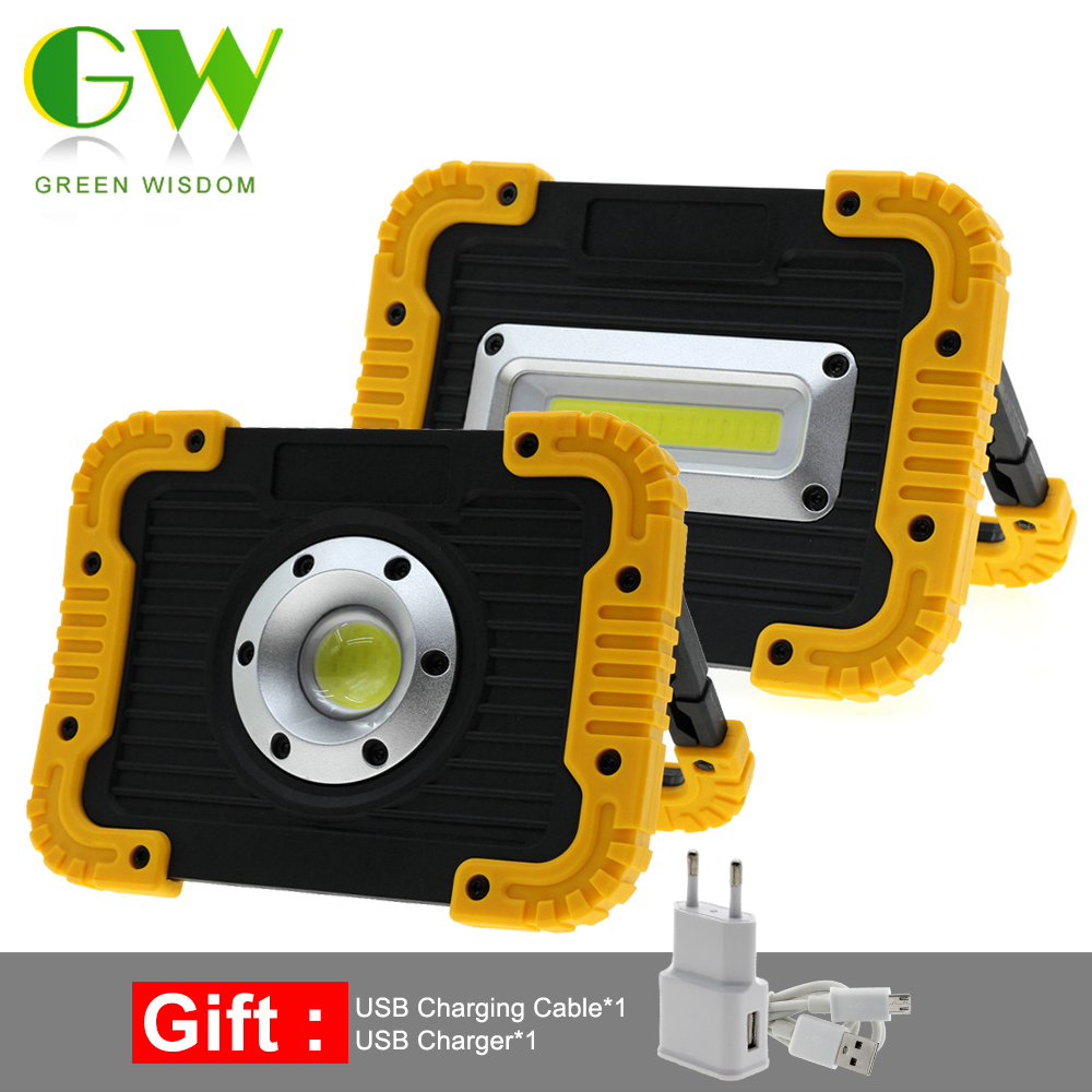 Rechargeable Shop Light Portable Outdoor Camping Spot Light USB Port Yellow