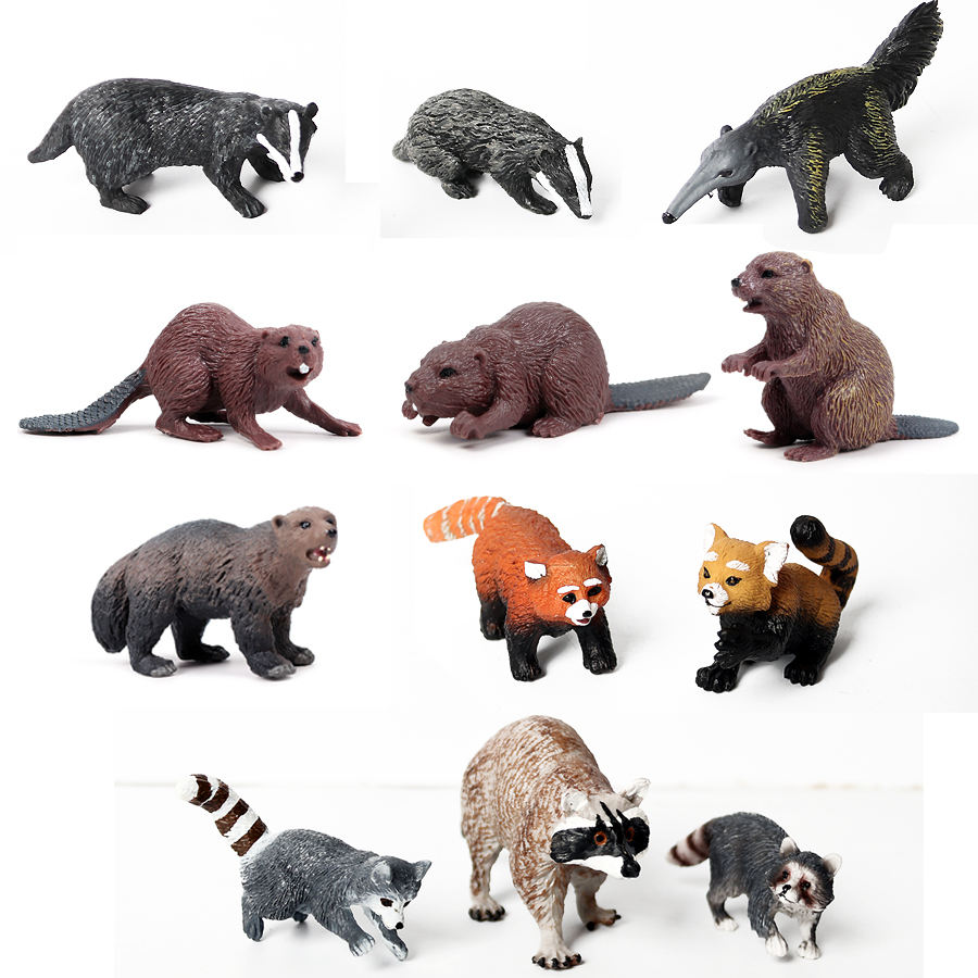 Animal-Figures Simulation-Forest Raccoon Beaver Badger Model-Decor Pvc-Toys Hand-Painted