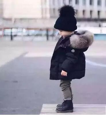 fashion children s winter jackets Fur collar down coat outerwear solid color cotton padded jacket thickening