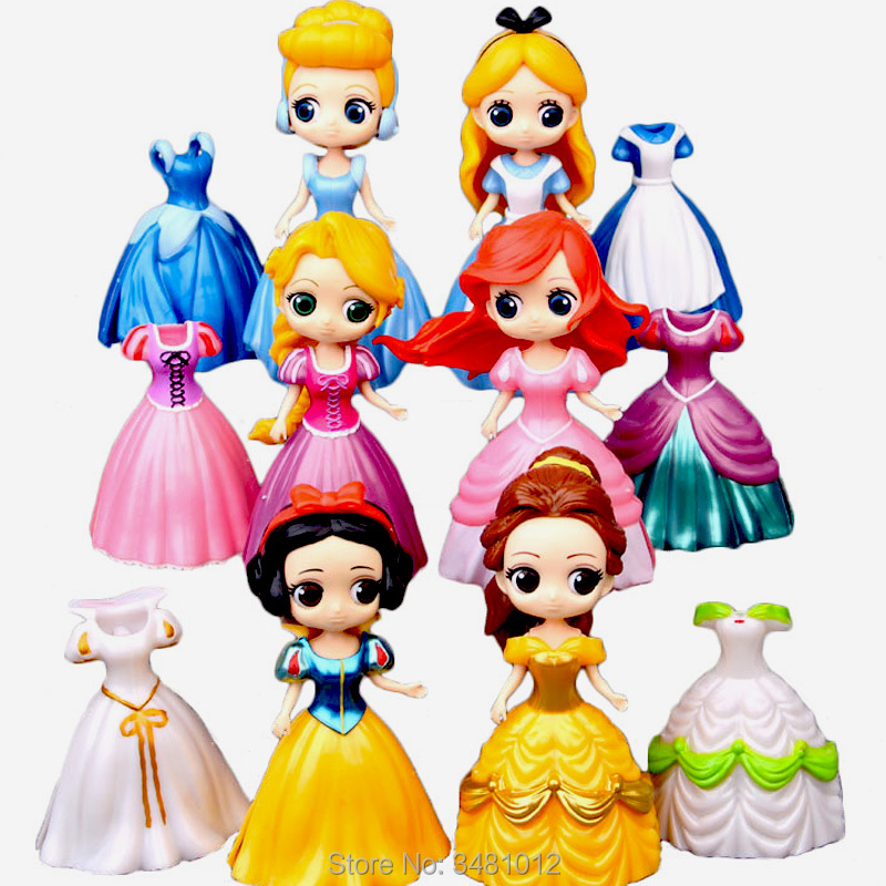 Magiclip Ariel Snow White Cinderella Alice Magic Clip Dress PVC Action Figures Rapunzel Dolls Belle Anime Figurines Kids Toys