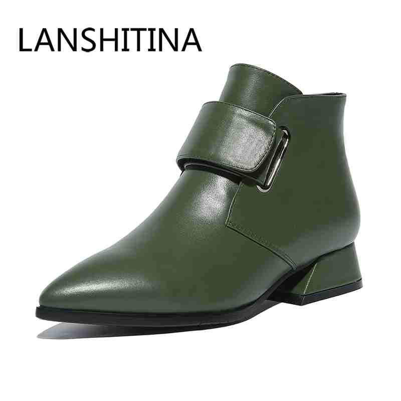Big size 34 43 women shoes fashion martin boots square heel pointed toe boots Genuine Leather