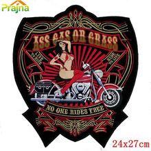 Patch de crâne Punk Rock, 16 modèles, bon marché, grande bande brodée pour vêtements grande moto, Patch arrière de motard Dragon loup