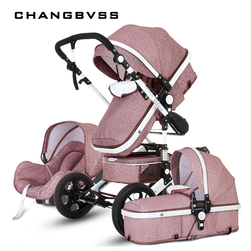 Luxury Multi function Trolley Baby Stroller 3 in 1 High Landscape Baby Carriage Seat and Sleeping Prams For Newborn poussette все цены