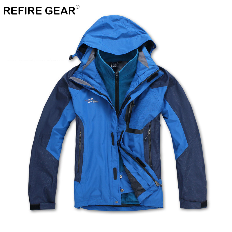 ReFire Gear Winter Outdoor Sport Windbreaker Jacket Men Warm Windproof Camping Jacket Coat Male Waterproof Thermal Hiking Jacket cqb winter men two piece set outdoor jacket waterproof windproof mountaineering coat camping hiking thermal jacket