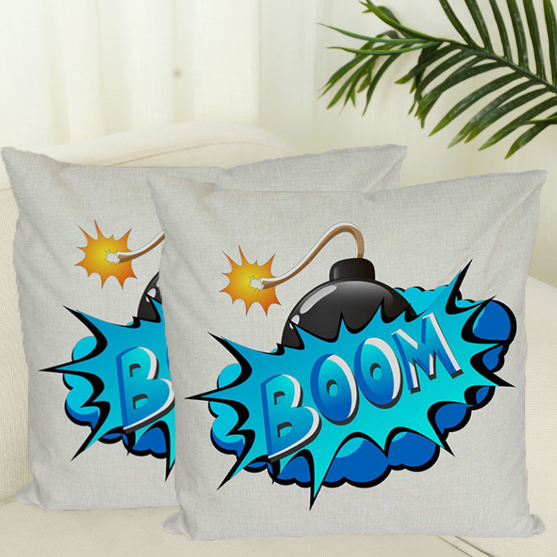Pillowcase Zippered Pillow Letters Print Cushion Funny BOOM <font><b>POOF</b></font> Graffiti Decorative Pillows Cover Modern Art Throw Pillow Case image