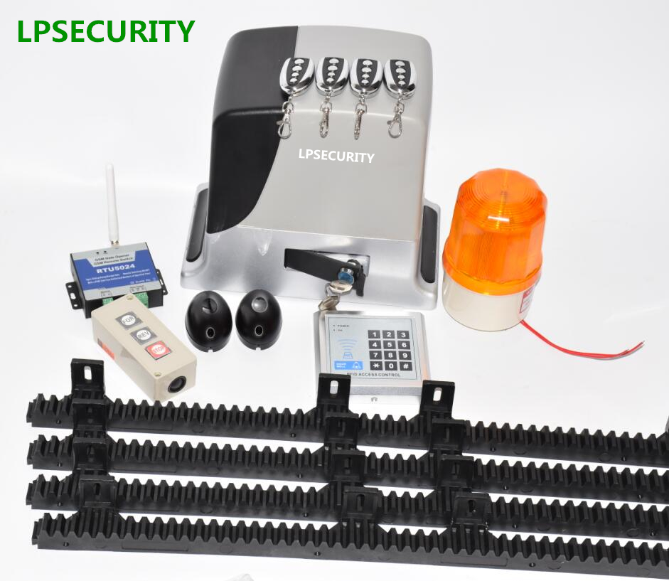LPSECURITY 600kg automatic electric GSM sliding gate opener motor complete kit 4m 5m 6m racks with photocell lamp button keypad lpsecurity magnetic limit switch kit for sliding gate opener motor