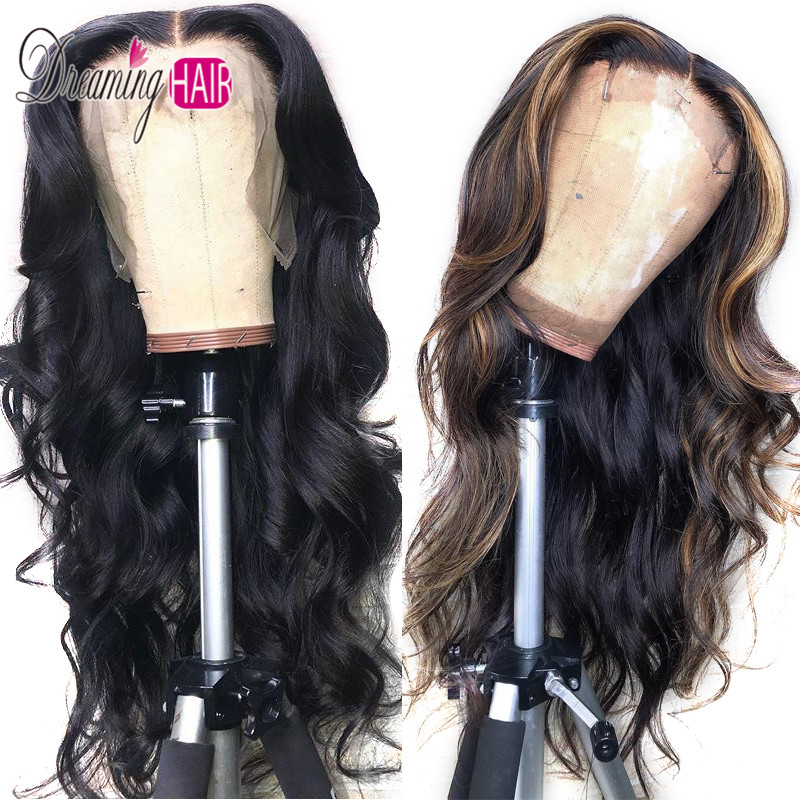 1b 4 27 Color Lace Front Human Hair Wigs With Baby Hair Brazilian Body Wave Remy Pre-Plucked 13X6 Ombre Human Hair Wigs Dreaming