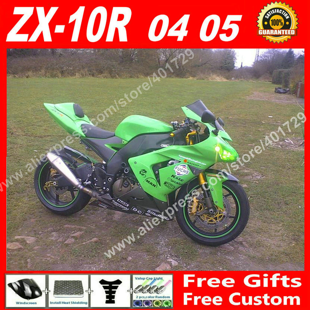 High grade Fairings for motorcycle 2004 2005 Kawasaki ZX10R 04 05 ZX-10R green OEM ZX10 fairing set 7 gift OF83 high grade for kawasaki zx12r fairings 2000 ninja zx12 fairing 2001 zx 12r 00 01 green flame in glossy black sm17
