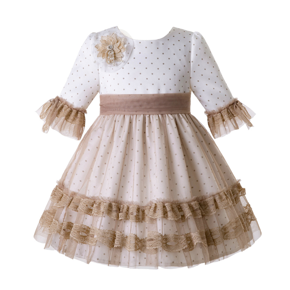 Pettigirl Wholesale Girl Communion Dresses With Flower Lace Mesh Evening Gowns For Wedding Spring Ceremony Dress