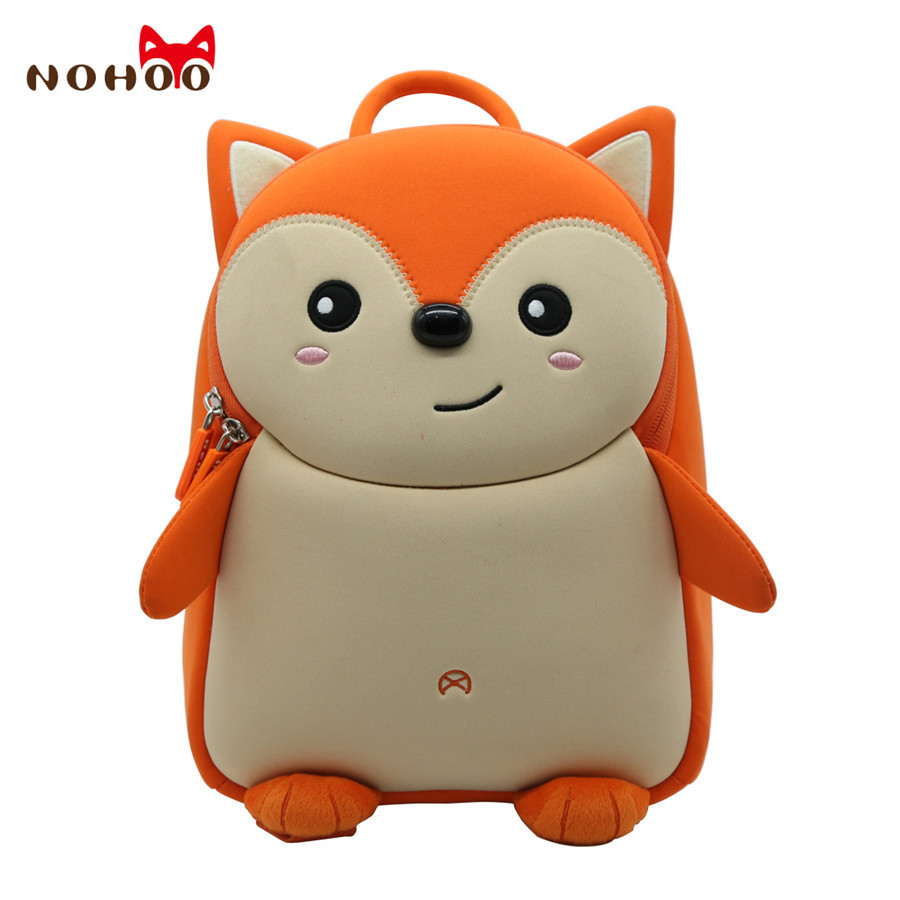 Nohoo Cute Fox Animal School Bag For Boys Kids Waterproof Backpack Kindergarten Girls 3d Cartoon Shape Mochila For 2-7 Years Old