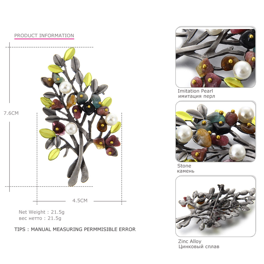 MloveAcc Vintage Natural Stone Brooch Pendant Retro Tree Shape - Fashion Jewelry - Photo 4