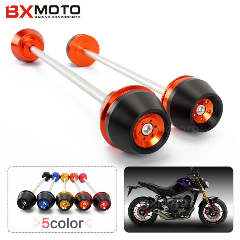 Motorcycle accessories Front&Rear Axle Fork Crash Sliders Cap Wheel Falling Protection Guard For Yamaha MT09 MT-09 2014-2015